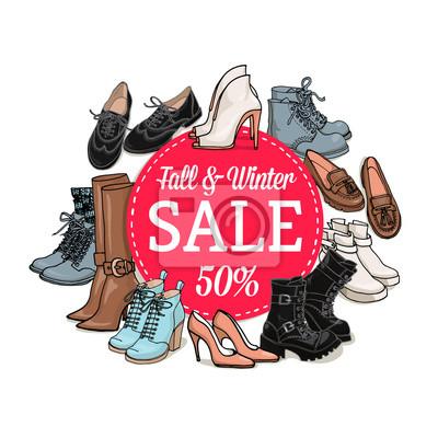 7c8145988 Fotomural Vector a ilustração de sapatos femininos e sacos de venda banner.  Hand-drown