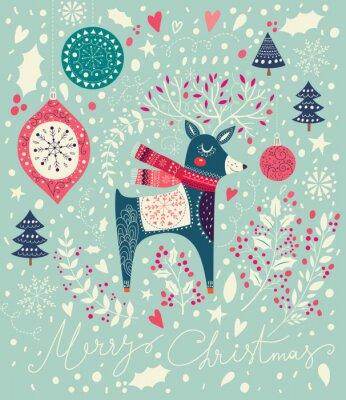 Fotomural Vector a ilustração do Natal com veado adorável