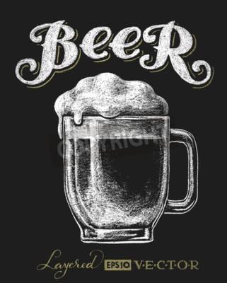 Fotomural Vector a ilustração do vidro de cerveja do giz no quadro-negro. Eps10. Transparência utilizada. RGB. Cores globais. Gradientes grátis. Cada elemento é agrupado separadamente