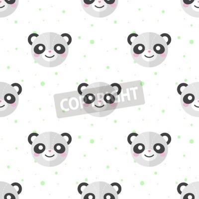 Fotomural Vector a panda engraçada lisa dos desenhos animados dirige o teste padrão sem emenda. Fundo da panda.