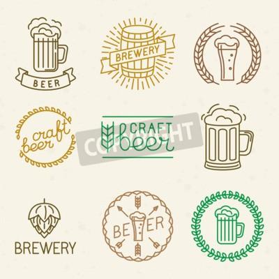 Fotomural Vector artesanato de cerveja e cervejaria logos e sinais em estilo linear na moda - mono linha emblemas e emblemas com texto e letras para cerveja casas, pubs e empresas de cerveja