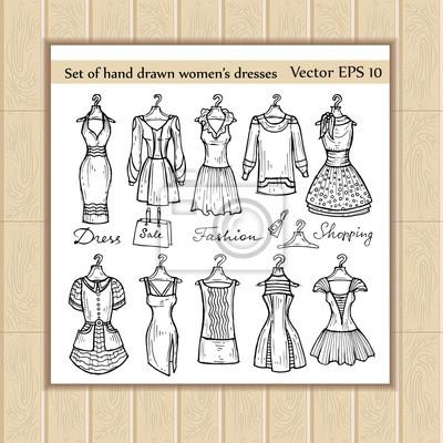 bae67a56d Fotomural Vector conjunto de vestidos desenhados a mão das mulheres em  cabides