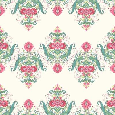 Fotomural Vector de fundo sem costura. O bonito padrão floral oriental consiste em bordas. Delicado verde e rosa.