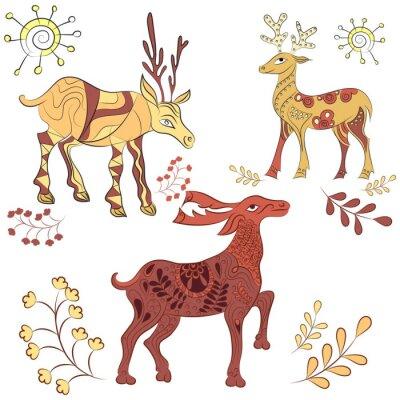 Fotomural Vector decorado deers com elementos da natureza. Ilustração desenhada mão. Escandinavo, estilo indiano. Elementos de ornamento