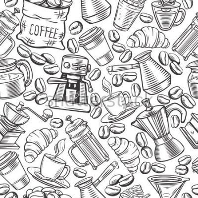 Fotomural Vector design de café padrão sem alterar com copos de desenho, bebidas quentes, imprensa francesa, cervejeiro para menu de café.