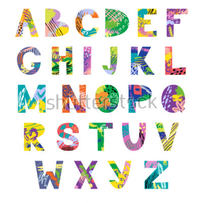 Fotomural Vector hand drawn latin artistic alphabet. Doodle fancy abc. Colorful fanky creative font.
