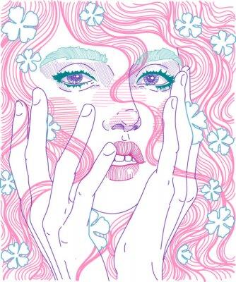 Fotomural vector linda garota face close-up rosto cheio com cabelo rosa e flores delicadas no penteado, de mãos dadas para o rosto