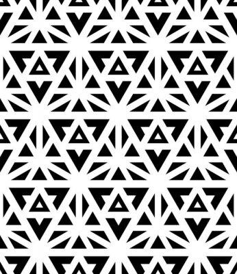 Fotomural Vector moderno padrão seamless geometria sagrada, preto e branco de impressão têxtil, textura abstrata, design de moda monocromático