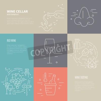 Fotomural Vector o conceito do vinho que faz o processo com símbolos diferentes da indústria do vinho que incluem o vidro, uva, frasco, corckscrew com texto da amostra. Fundo perfeito para o design wine-related