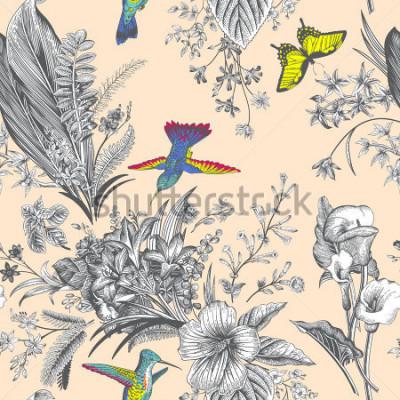 Fotomural Vector o padrão floral do vintage da sem costura. Flores e pássaros exóticos. Ilustração clássica botânica. Colorida