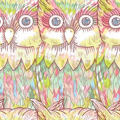 Fotomural Vector o padrão sem emenda da coruja. Fundo bonito abstrato do pássaro.