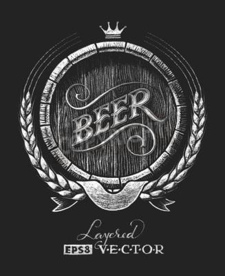 Fotomural Vector o tambor da cerveja desenhado no quadro-negro. RGB. Uma cor global. Gradientes grátis. Cada elemento é agrupado separadamente
