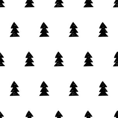 Fotomural Vector o teste padrão do xmas com árvores do xmas. Estilo escandinavo.