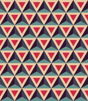 Fotomural Vector padrão de geometria colorida transparente sem emenda, triângulos 3D, cor azul vermelho, fundo geométrico abstrato, impressão multicolorido na moda, textura retro, design de moda hipster