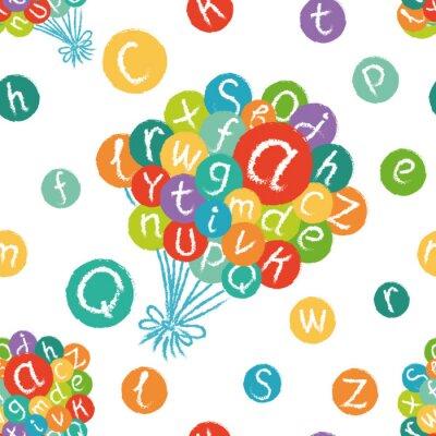 Fotomural Vector padrão sem emenda - alfabeto Inglês engraçado. Entregue o giz tirado como letras em círculos coloridos.
