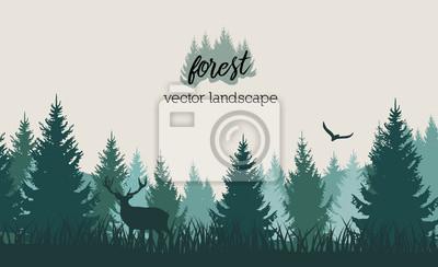 Fotomural Vector paisagem de floresta vintage com azul e grees silhuetas de árvores e animais selvagens