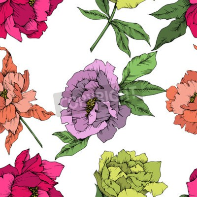 Fotomural Vector Peony floral botanical flower. Wild spring leaf wildflower isolated. Engraved ink art. Seamless background pattern. Fabric wallpaper print texture.