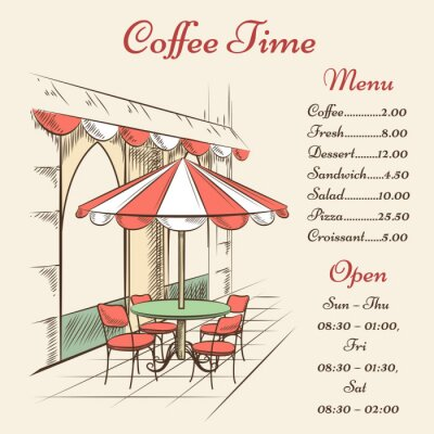 Fotomural Vector Street Cafe posters