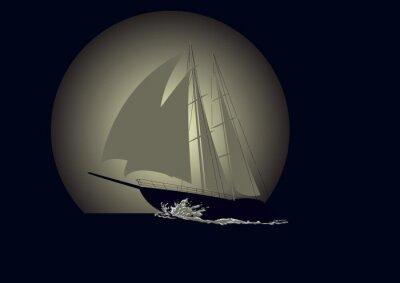 Fotomural Veleiro contra um fundo da lua