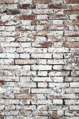 Fotomural Velho, grande, vermelho, tijolo, parede, fundo, afligido, branca, pintura