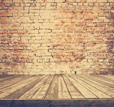 Fotomural Velho quarto com parede de tijolo, retro filtrado, estilo instagram
