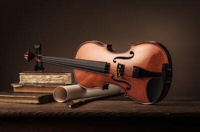 Fotomural Velho, violino, ainda, vida, LIVROS