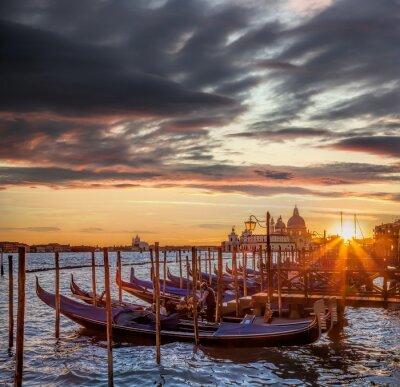 Fotomural Veneza, gôndolas, colorido, pôr do sol, Itália