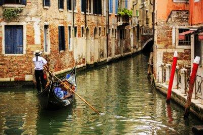 Fotomural Veneza, Itália - gondoleiro e cortiços históricos