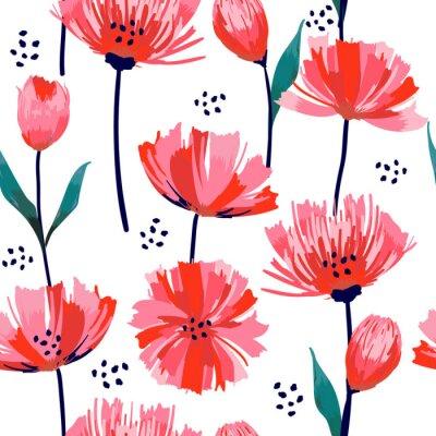 Fotomural Verão bonito freshy Trendy Wild florescendo flor rosa tulipa sem costura padrão em um estilo de desenho de mão