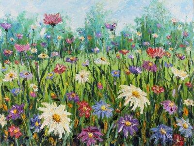 Fotomural Verão flores selvagens, pintura a óleo