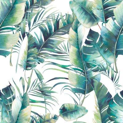 Fotomural Verão palmeira e folhas de banana padrão sem emenda. Textura da aguarela com os ramos verdes no fundo branco. Desenho, desenhado, tropicais, papel parede