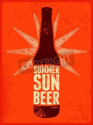 Fotomural Verão, Sol, Cerveja. Poster retro tipográfico da cerveja do grunge. Ilustração do vetor.