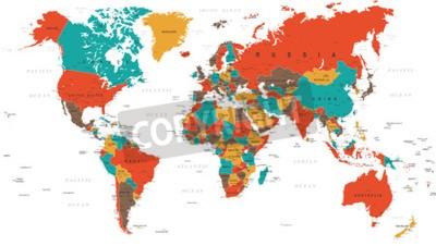 Fotomural Verde Vermelho Amarelo Brown Mapa Mundial - fronteiras, países e cidades - ilustração
