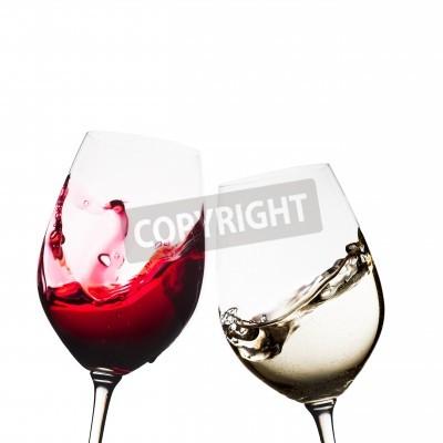 Fotomural Vermelho, branca, vinho, óculos, isolado