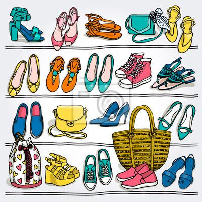 76246ba9d Fotomural Vetor desenhado mão Ilustração de acessórios de moda da mulher.  Lado, wiew,