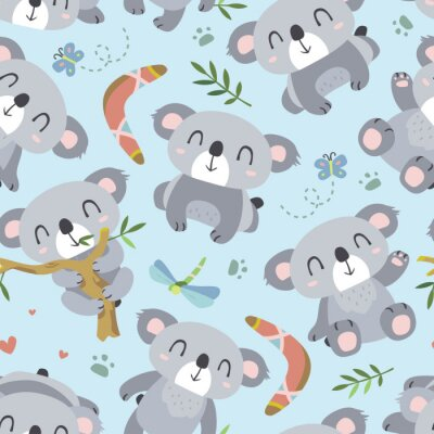 Fotomural Vetor estilo cartoon koala padrão sem emenda