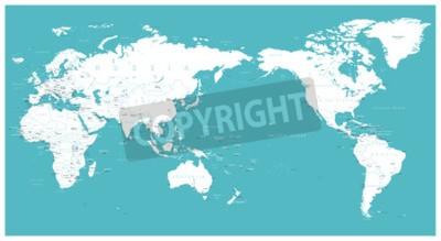 Fotomural Vetor liso de Ásia do mapa de mundo no centro.