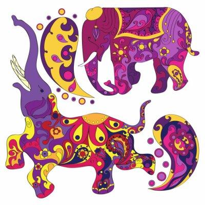 Fotomural Vetorial, decorado, indianas, elefante