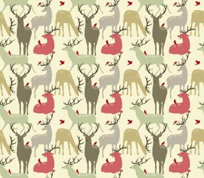 Fotomural Vetorial, seamless, Padrão, Deers, pássaros