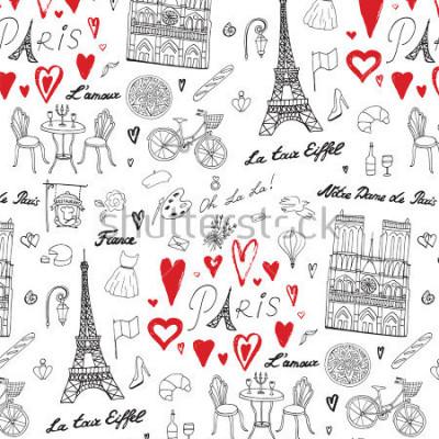 Fotomural Viagem Paris, vetor linha padrão