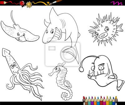 Vida Do Mar Para Colorir Desenhos Animados Fotomural Fotomurais