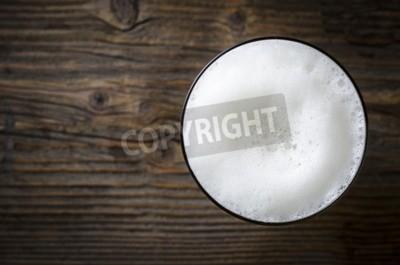 Fotomural Vidro, de, cerveja, espuma, sobre, madeira, tabela