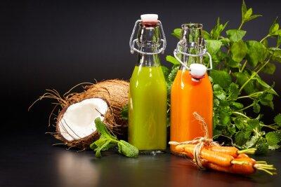 Fotomural Vidro, fresco, orgânica, vegetal, fruta, sucos, isolado