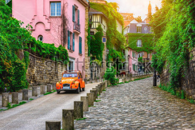 Fotomural View of old street in quarter Montmartre in Paris, France. Cozy cityscape of Paris. Architecture and landmarks of Paris.