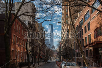 Fotomural View of One World Trade Center from Soho in New York City on a warm winter morning