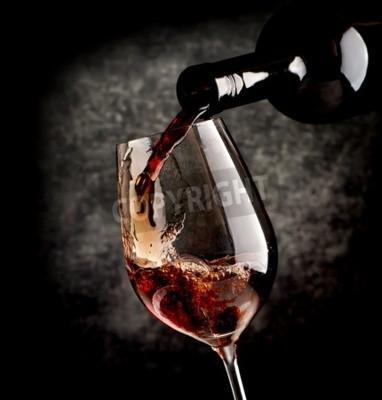Fotomural Vinho, Despejar, wineglass, pretas, fundo