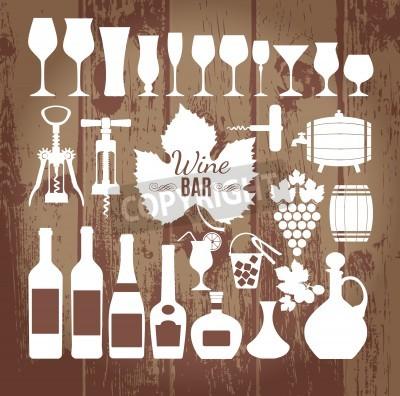 Fotomural Vinho ícones conjunto de design. Vector ilustrações.