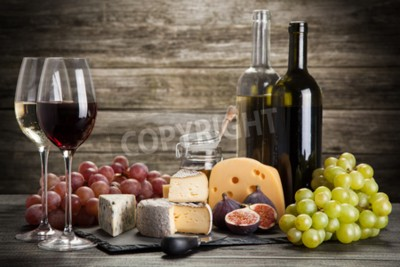 Fotomural Vinho, queijo, ainda, vida
