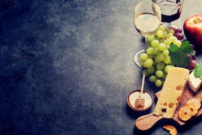 Fotomural Vinho, uva, queijo e mel