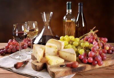 Fotomural Vinho, uvas e queijo